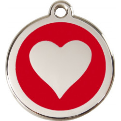 Red colour Identity Medal Heart cat and dog, engraved tag with split