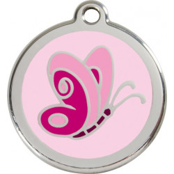 Pink colour Identity Medal Butterfly cat and dog, engraved security tag