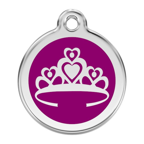 Princess Crown Identity Medal purple cat and dog, tag