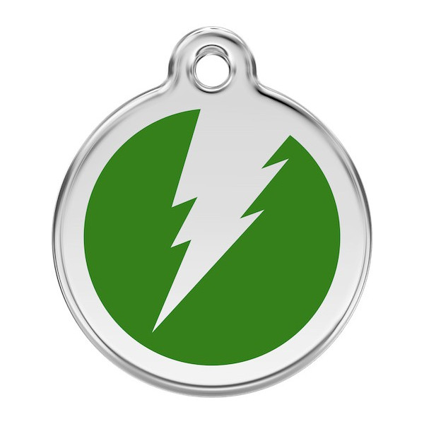 Flash Lightening Identity Medal Green cat and dog, tag