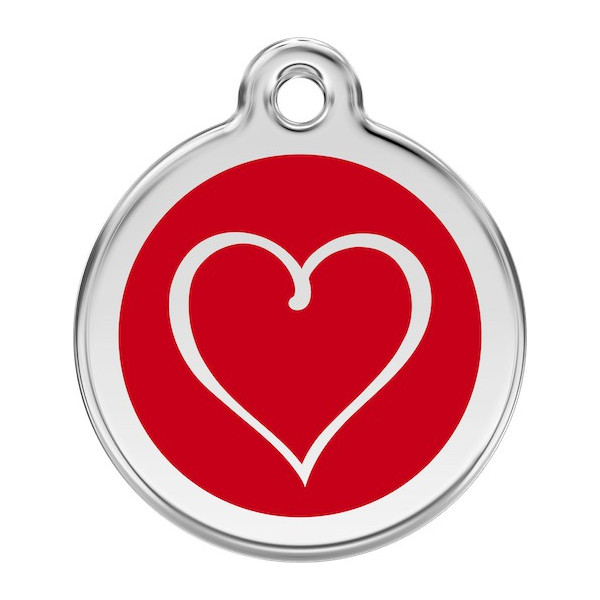 Heart Identity Medal Red cat and dog, tag