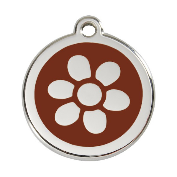 Flower Identity Medal brown chocolate cat and dog, engraved iron tag