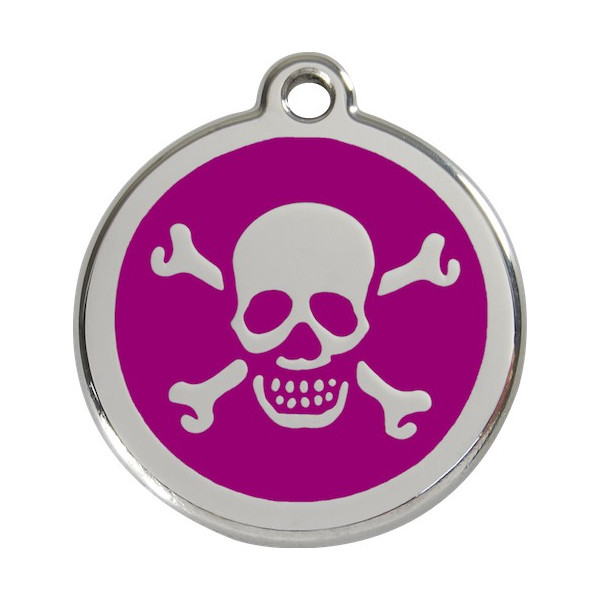 Pirate Flag Identity Medal purple cat and dog, engraved iron tag
