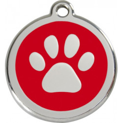 Paw Iron Identity Medal Red. Cat dog engraved tag