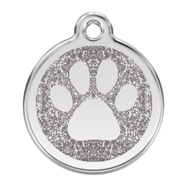 Paw Iron Identity Medal Silver Glitter. Cat dog engraved tag