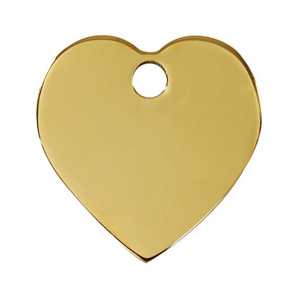 Heart Identity Medal Gold cat and dog, engraved iron tag