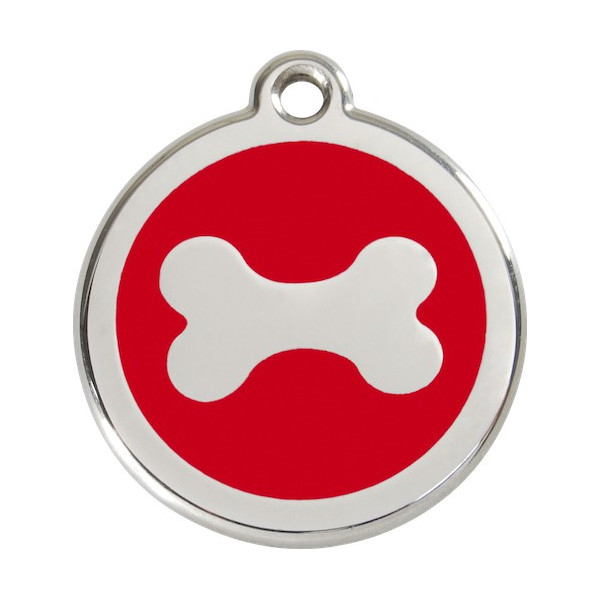 Bone Identity Medal red cat and dog, engraved iron tag