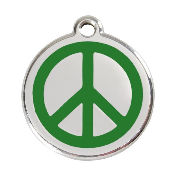 Peace and Love Identity Medal Green cat and dog, engraved iron tag