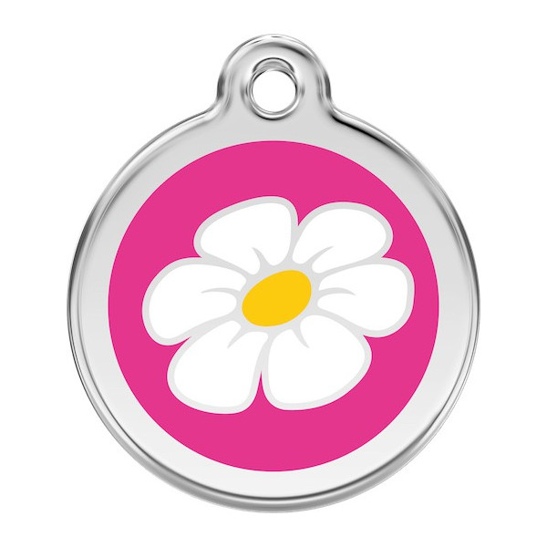 Daisy Flower Identity Medal fuschia pink cat and dog, engraved iron tag