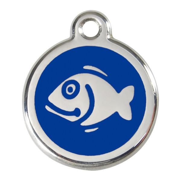 Fish, Navy blue Identity Medals, engraved iron tag for cats
