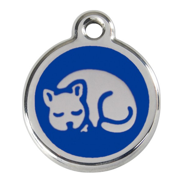 Sleeping cat, navy blue Identity Medals, engraved iron tag for cats, kitten kitty sleep