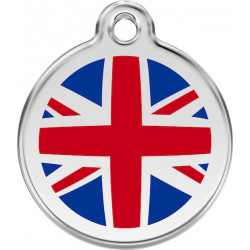 Great Britain Flag Identity Medal cat and dog, engraved iron tag england