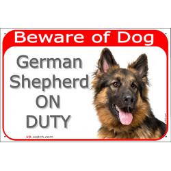gate sign red 24 cm beware of dog german shepherd long hair on duty plate panel