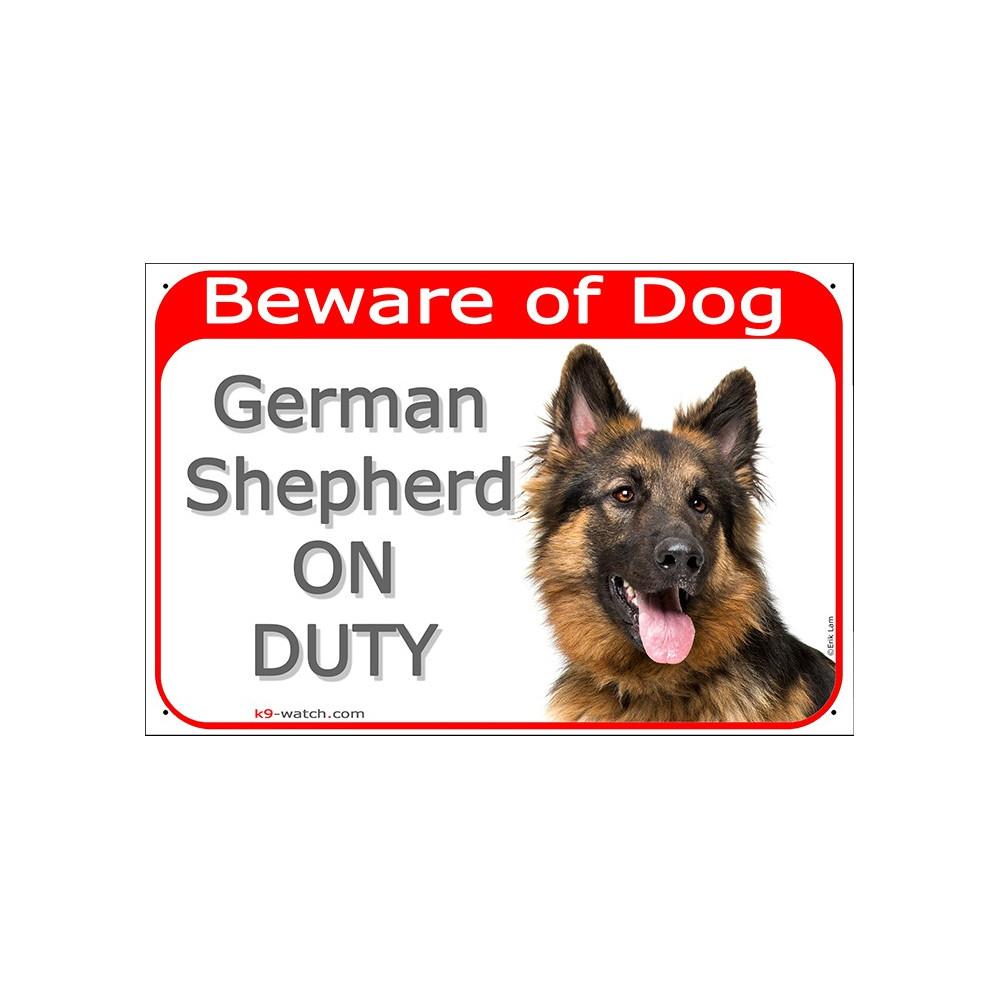 German Shepherd Dog Long Hair Head, Gate Plaque Beware Of