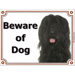 gate sign 2 sizes beware of dog briard black head plaque panel placard