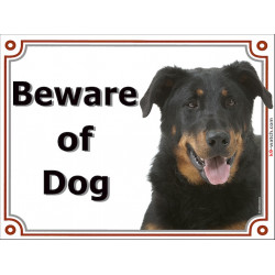 gate sign 2 sizes beware of dog Beauceron head plaque panel placard beauce french sherpherd