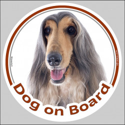 "Sticker circle sticker ""Dog on Board"" 15 cm, Afghan Hound Blue and Cream Head decal label adhesive"