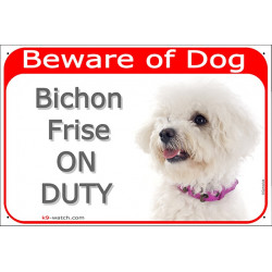 Portal Sign red 24 cm Beware of Dog, Bichon Frise Tenerife head on duty, door plate panel