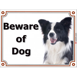 Portal Sign, 2 Sizes Beware of Dog, Border Collie black and white long hairs head plate door panel