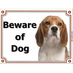 Portal Sign, 2 Sizes Beware of Dog, Red and White English Beagle head, Gate plate, door