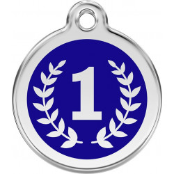 Winner Number 1, blue Identity Medals delivered engraved for dogs and cats