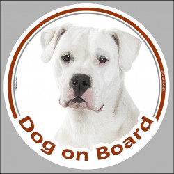 "Dogo Argentino photo, circle sticker ""Dog on board"" label decal car notice"