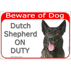 Portal Sign red 24 cm Beware of Dog, Dutch Shepherd on duty, plate gate panel door