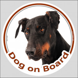 "Circle sticker ""Dog on board"" 15 cm, Dobermann Head label decal car"