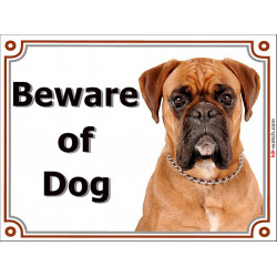 Portal Sign, 2 Sizes Beware of Dog, Fawn Boxer head German orange dog Gate plate