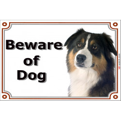 Portal Sign, 2 Sizes Beware of Dog, Black Tricolour Australian Shepherd head, gate plate Aussie