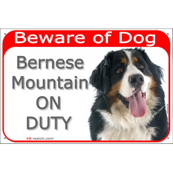 Portal Sign red 24 cm Beware of Dog, Bernese Mountain Dog on duty, Gate plate Berner Sennenhund