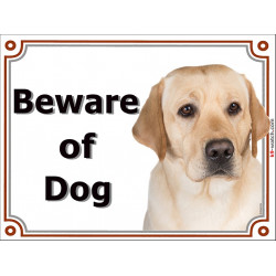 Portal Sign, 2 Sizes Beware of Dog, Yellow Labrador head, gate plate