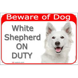Portal Sign red 24 cm Beware of Dog, White Shepherd on duty, gate plate American Canadian dog