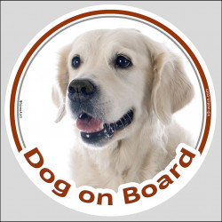 "Circle sticker ""Dog on board"" 15 cm, Golden Retriever Head decal label"