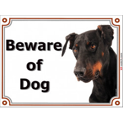 Portal Sign, 2 Sizes Beware of Dog, Dobermann head, gate plate door photo