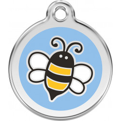 Blue Honey Bee Identity Medals delivered engraved for dogs and cats