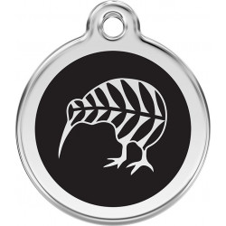Kiwi bird of New Zealand Identity Medals delivered engraved for dogs and cats, black tag