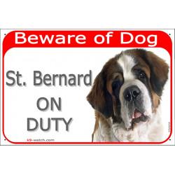 Portal Sign red 24 cm Beware of Dog, St. Bernard on duty Bernhardiner, St. Bernhardshund, gate plate