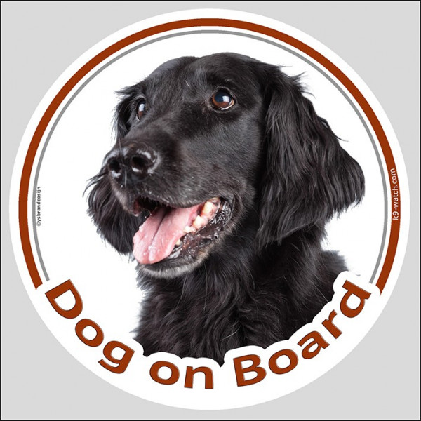 "Circle sticker ""Dog on board"" 15 cm, Flat Coated Retriever Head, decal label car, flatcoat, flattie"
