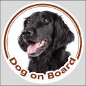 """Flat Coated Retriever, car sticker """"Dog on board"""" 15 cm"""