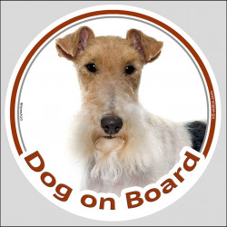 "Circle sticker ""Dog on board"" 15 cm, Wire Fox Terrier Head, decal label"