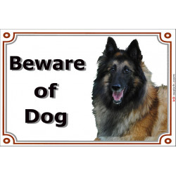 Portal Sign, 2 Sizes Beware of Dog, Tervuren Belgian Shepherd Dog head Gate Plate