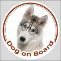 "Circle sticker ""Dog on board"" 15 cm, Grey Siberian Husky Head"
