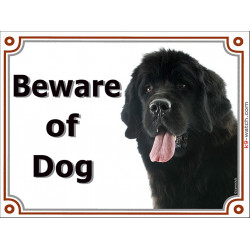 Portal Sign, 2 Sizes Beware of Dog, Black Newfoundland head, gate plate, newf