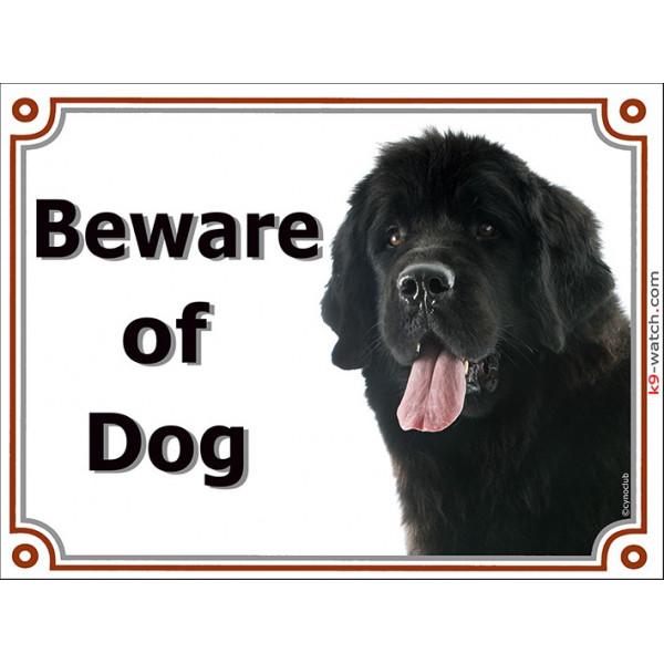 Portal Sign, 2 Sizes Beware of Dog, Black Newfoundland head, gate plate, newf