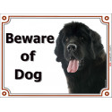 Portal Sign, 2 Sizes Beware of Dog, Black Newfoundland head