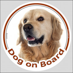 "Circle sticker ""Dog on board"" 15 cm, Golden Retriever Head, Decal label adhesive retriver"