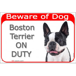 Portal Sign red 24 cm Beware of Dog, Boston Terrier on duty, Gate plate