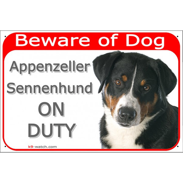 Portal Sign red 24 cm Beware of Dog, Appenzeller Sennenhund on duty, Gate plate Moutain