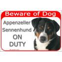 Portal Sign red 24 cm Beware of Dog, Appenzeller Sennenhund on duty